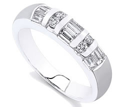 Platinum Round and Baguette Diamond Wedding Band