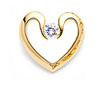 Yellow Gold Tension Set Diamond Heart Pendant