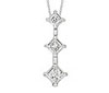 Diamond White Gold Three Stone Princess-cut Pendant
