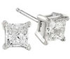 White Gold Princess Stud Earrings