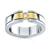 Mens Platinum Dual Metal Diamond Band