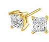 Yellow Gold Princess Diamond Stud Earrings