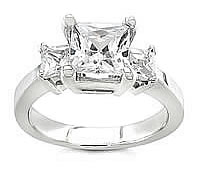 princess cut three stone 14k white gold ring