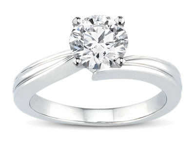 14K White Gold Grooved Solitaire Engagement Setting by Novori