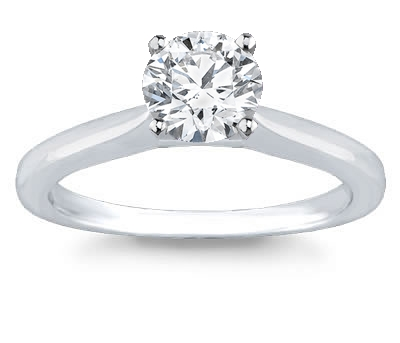 14K White Gold Solitaire Engagement Setting (2.0 Mm) by Novori :  wedding rings diamond solitaire rings diamond rings engagement rings