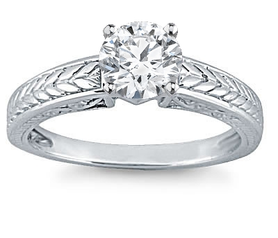 14K White Gold Solitaire Engagement Setting by Novori from novori.com