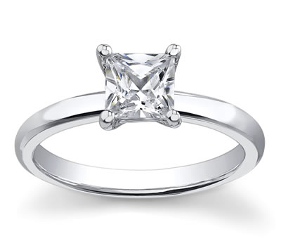 14K White Gold Princess Diamond Engagement Setting by Novori :  wedding rings diamond solitaire rings diamond rings engagement rings