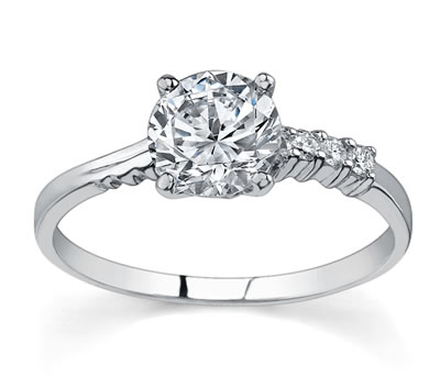 14K White Gold Diamond Engagement Setting (0.08ctw) by Novori