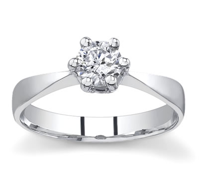 14K White Gold Tapered Solitaire Setting by Novori :  wedding rings diamond solitaire rings diamond rings engagement rings
