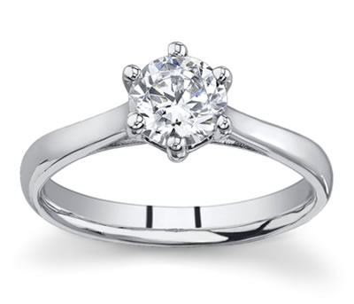 14K White Gold Cathedral Solitaire Setting by Novori :  wedding rings diamond solitaire rings diamond rings engagement rings