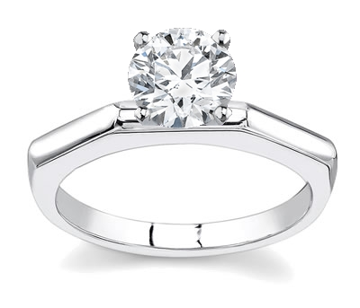 14K White Gold Solitaire Engagement Setting by Novori