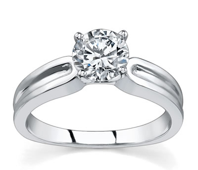 14K White Gold Grooved Solitaire Setting by Novori