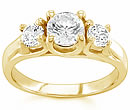 gold three stone diamond rings