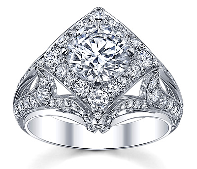 gold diamond engagement ring side diamonds
