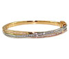 White and Yellow Gold Interwoven Diamond Bangle Bracelet
