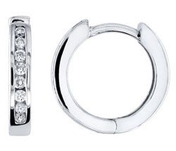 White Gold Channel Set Diamond Earrings
