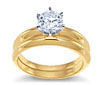 Yellow Gold Diamond Engagement Ring Setting With Matching Band