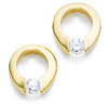 Yellow Gold Tension Set Diamond Earrings