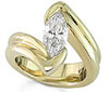 Yellow Gold Tension Setting for Marquise-cut Diamonds